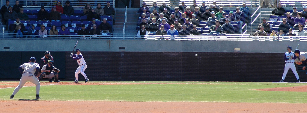 The first ECU batter to take a pitch at Clark-LeClair stadium.