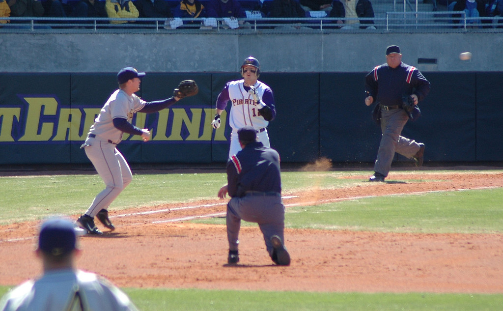 An ECU batter gets thrown out a first.