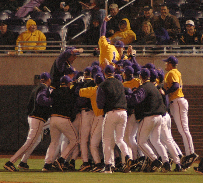 The ECU Baseball huddled up before taking on Arizona State Saturday night.