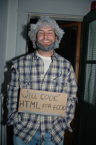 10/31/2006 - Halloween costume - Jon Deutsch - Will code HTML for Food.