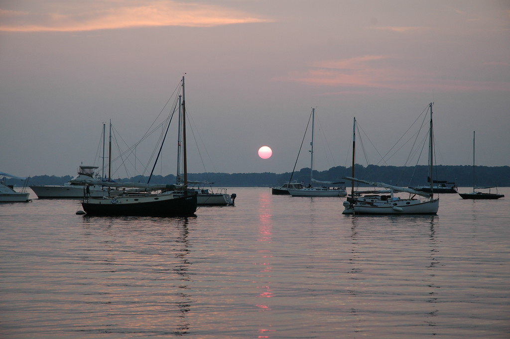 7/29/2006 - Sun setting at Conquest Beach MD during the Corsica River Annual Regatta.