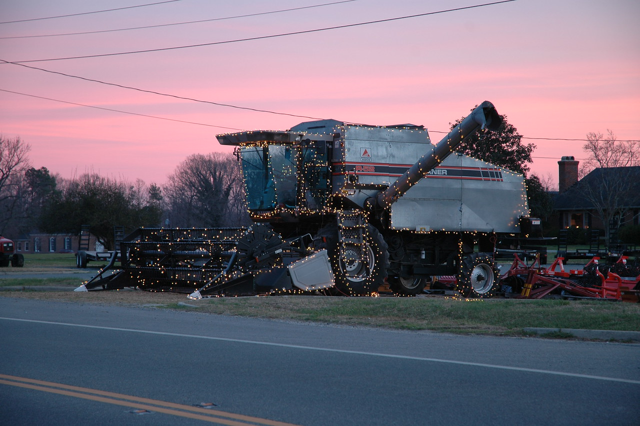 12/17/2006 - Decorated combine on the way to Deltaville with a beautiful sky.