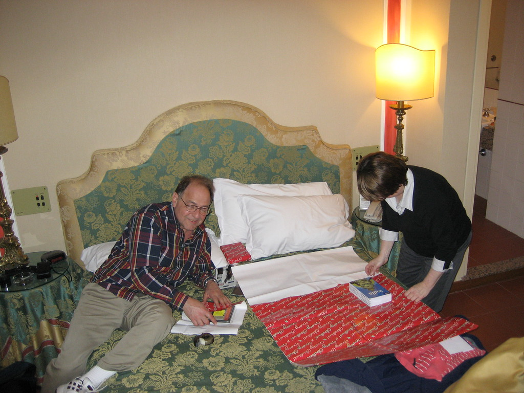 Christmas in March in Rome. Stan and Pat wrapping presents.