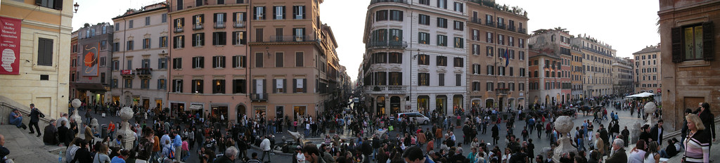 Panorama looking down from the Spanish Steps.