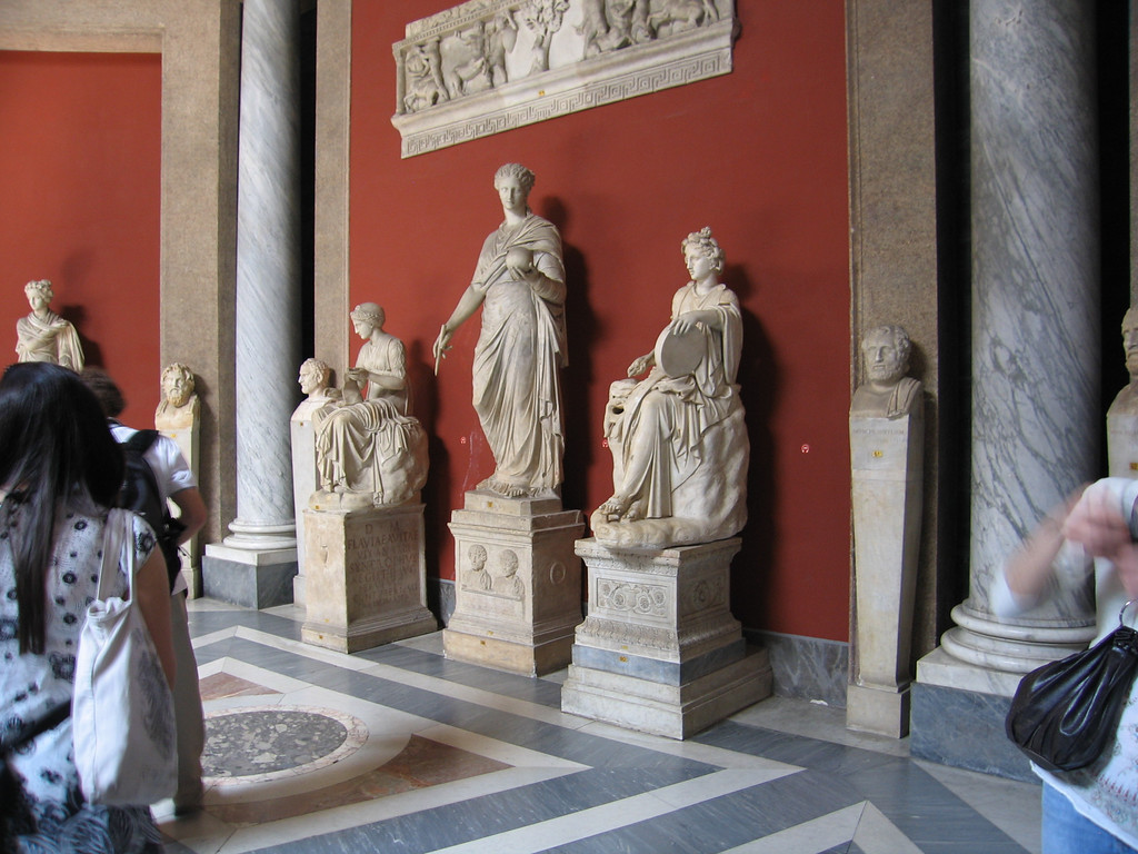 Sculptures in the Vatican museum.