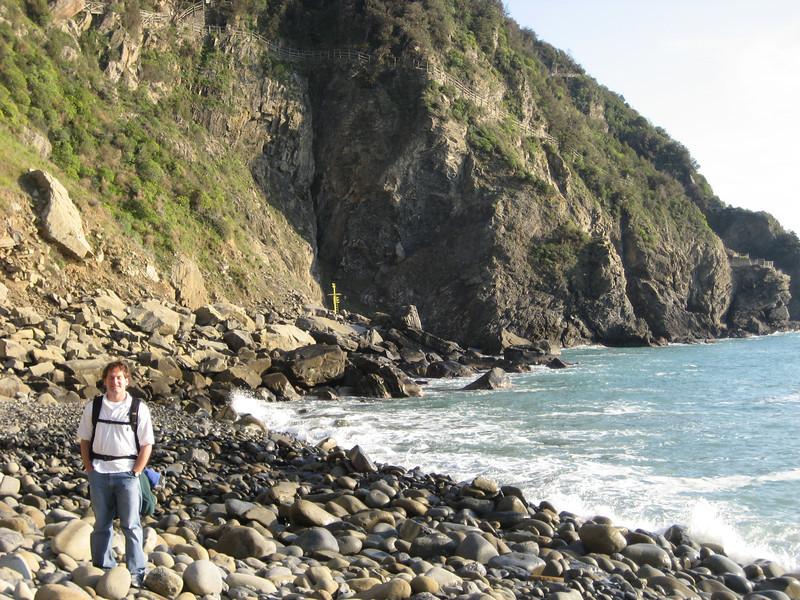 Jon Deutsch on the rock beach.