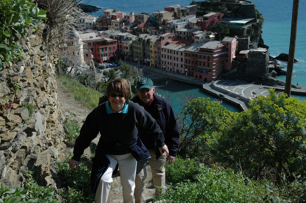 Pat and Stan hiking the trails in Cinque Terre just outside of Vernazza.
