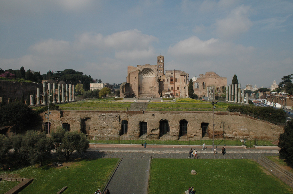 Looking towards the Roman Forum area from the Coliseum.