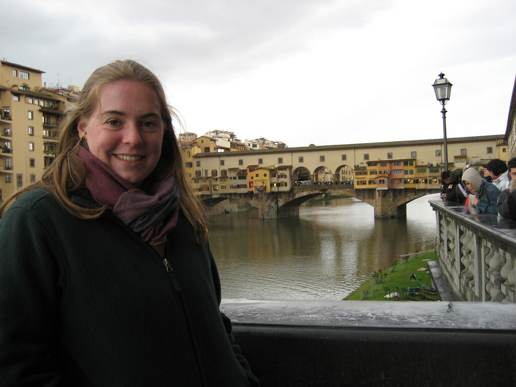 Cheryl in front of Ponte Vecchio