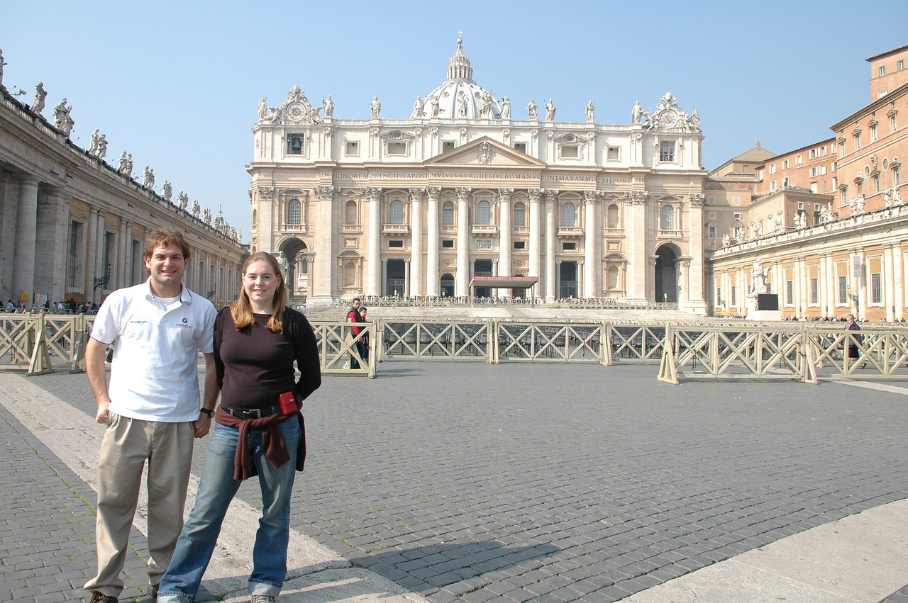Jon Deutsch & Cheryl in front of Basilica di San Pietro.