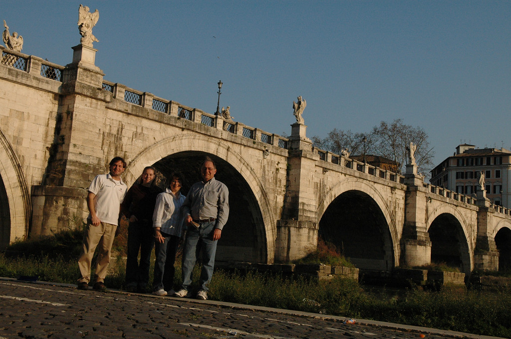 Jon Deutsch, Cheryl, Pat and Stan in front of St. Angel's Bridge.