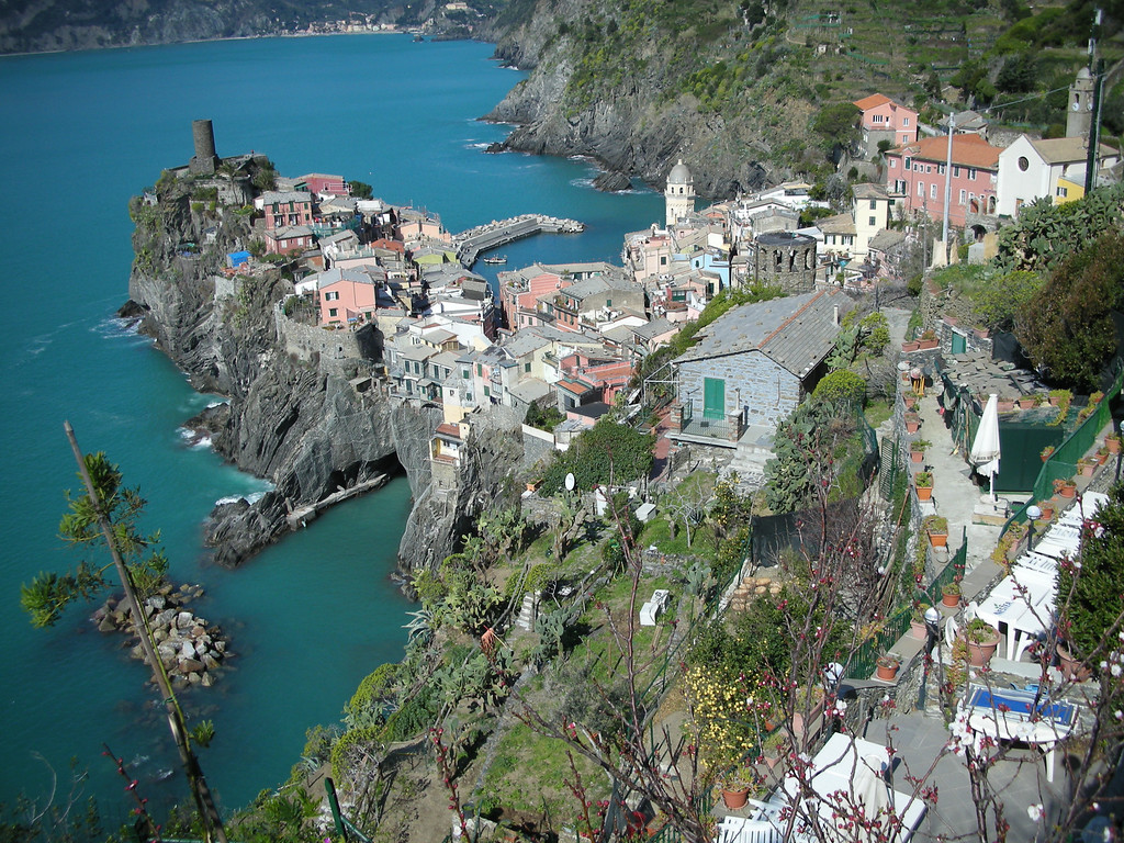 view of Vernazza from the opposite direction.