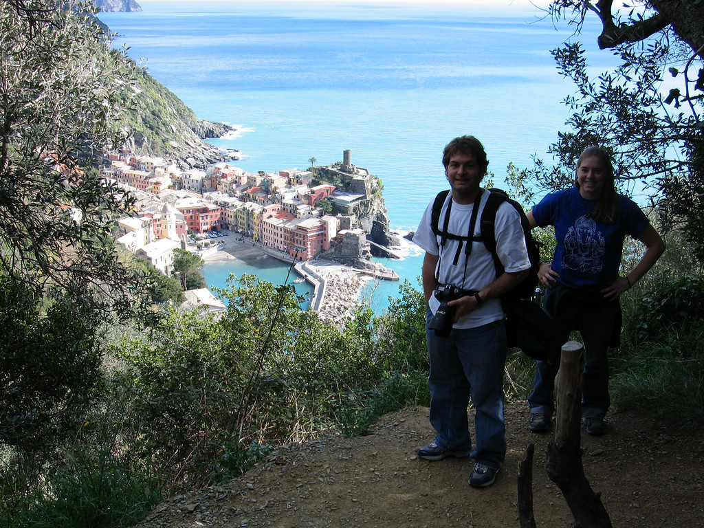 Jon Deutsch and Cheryl on the trails of Cinque Terre just outside of Vernazza.