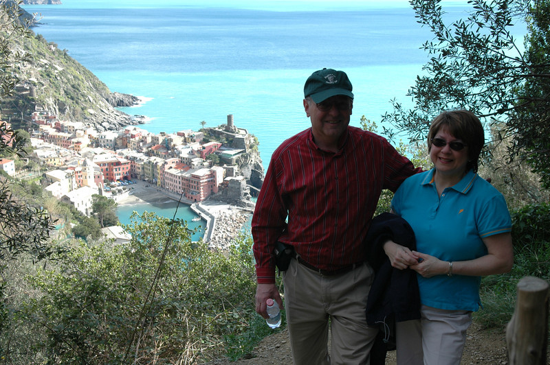 Pat and Stan on the trails of Cinque Terre just outside of Vernazza.