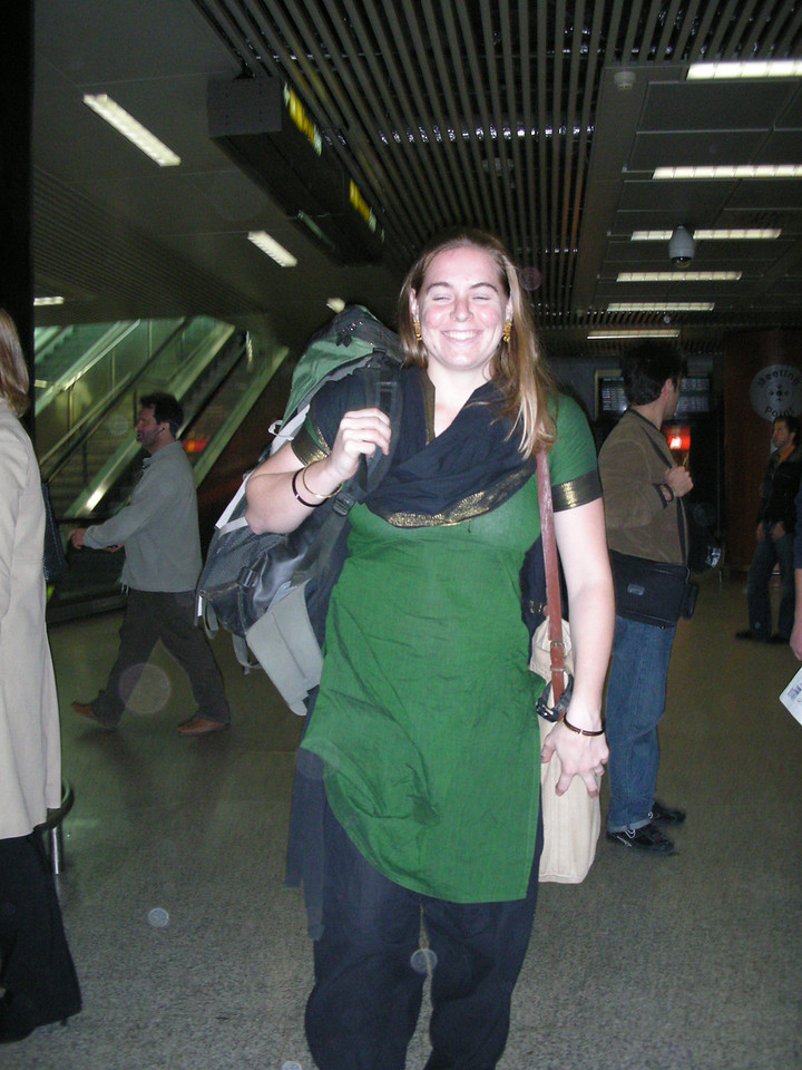 Cheryl arriving at the airport in Rome having flown in from India.