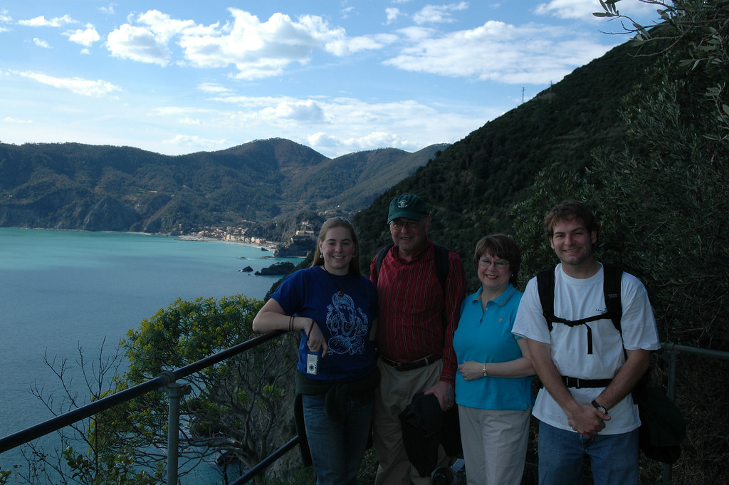 Family photo on the trails of Cinque Terre with Monterosso in the background.  Cheryl, Stan, Pat and Jon Deutsch.