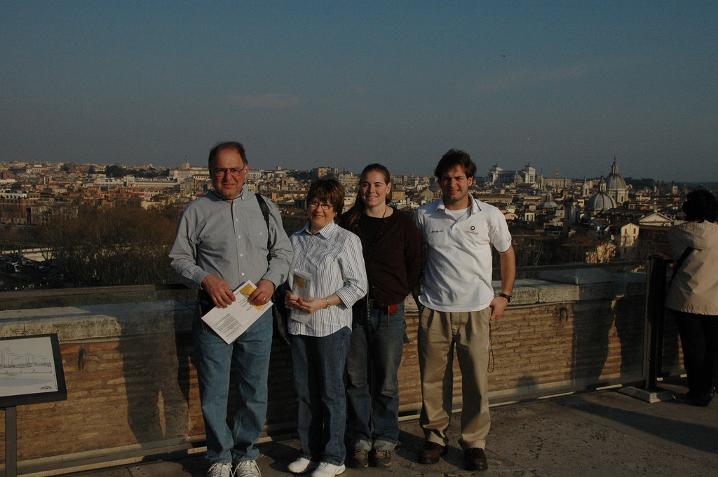 Stan, Pat, Cheryl and Jon Deutsch on top of the Castel Sant'Angelo.