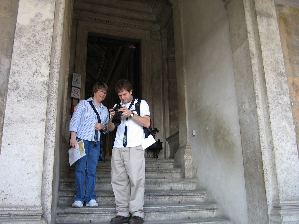Pat and Jon Deutsch look at pictures on a camera in the Castel Sant'Angelo.