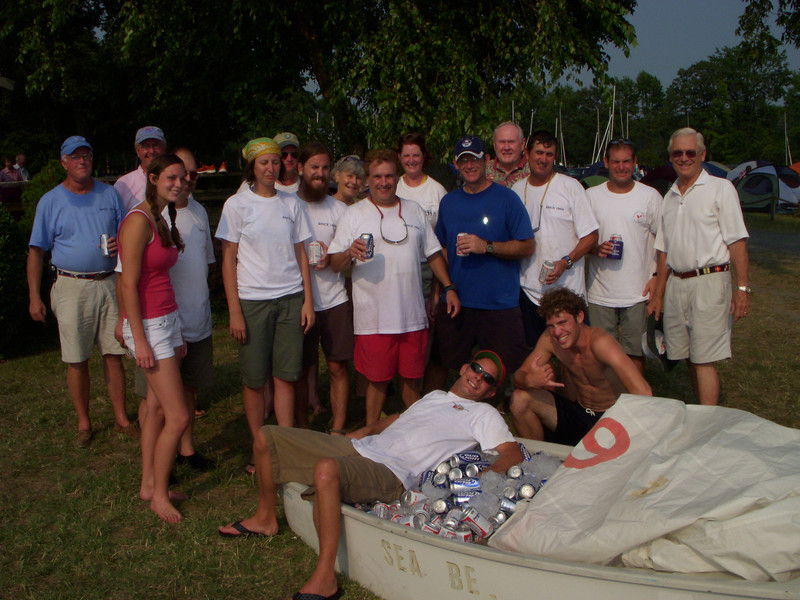 8/4/2007 Opti full of beer at the Ware River Governor's Cup Regatta. Mike Dale, Tom Roberts, Meg Robert, Josh Guenther, Jere Desvernine, Len Guenther, Chris Tulip, Jon Deutsch