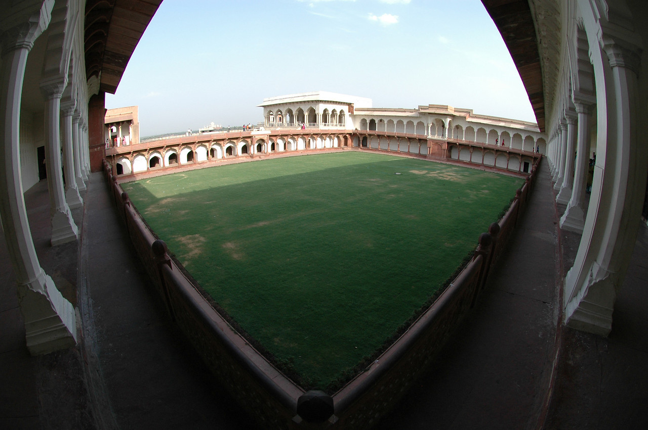 Agra: Red Fort with the Taj Mahal in the distance.