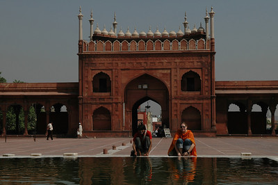 Delhi: Amar and Cheryl washing their feet at Jama Masjid Mosque.