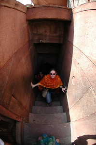 Delhi: Amar and Cheryl Deutsch climb steps at Jama Masjid Mosque. Note to self: When using the fish eye, make sure your feet are not in the picture.