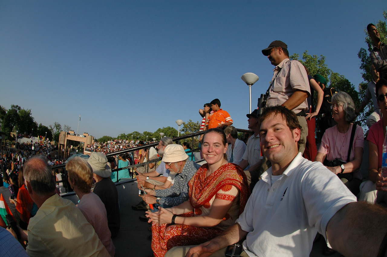 Waga: Cheryl Deutsch & Jon Deutsch watching the India/Pakistan border closing ceremony.
