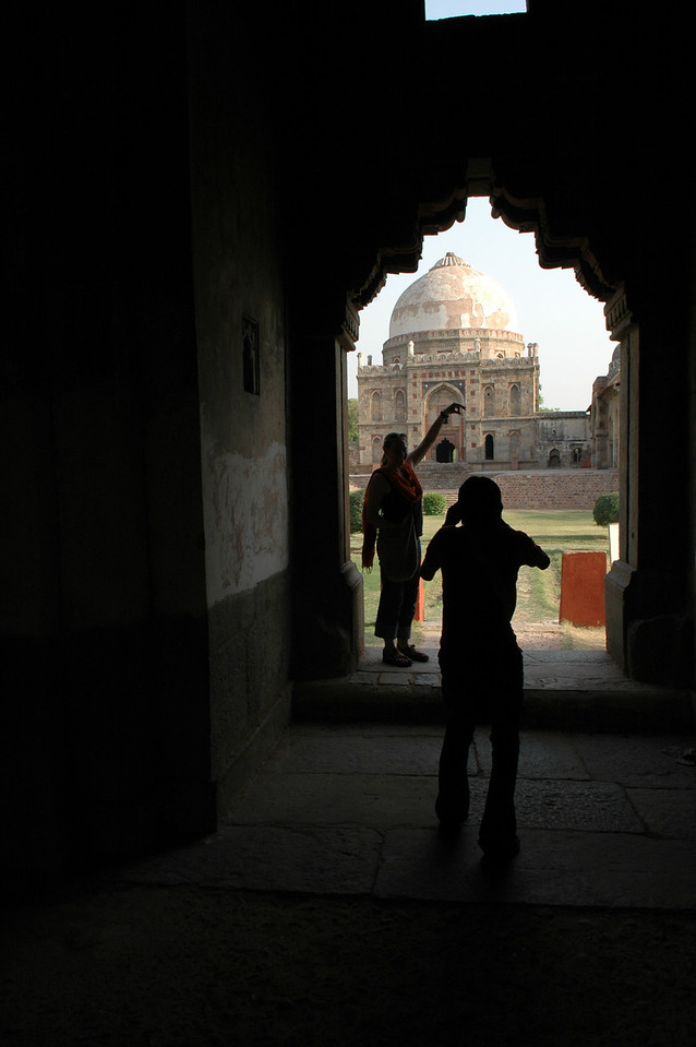 Delhi: Cheryl Deutsch & Amar taking pictures of Bara Gumbad in Lodi Garden.