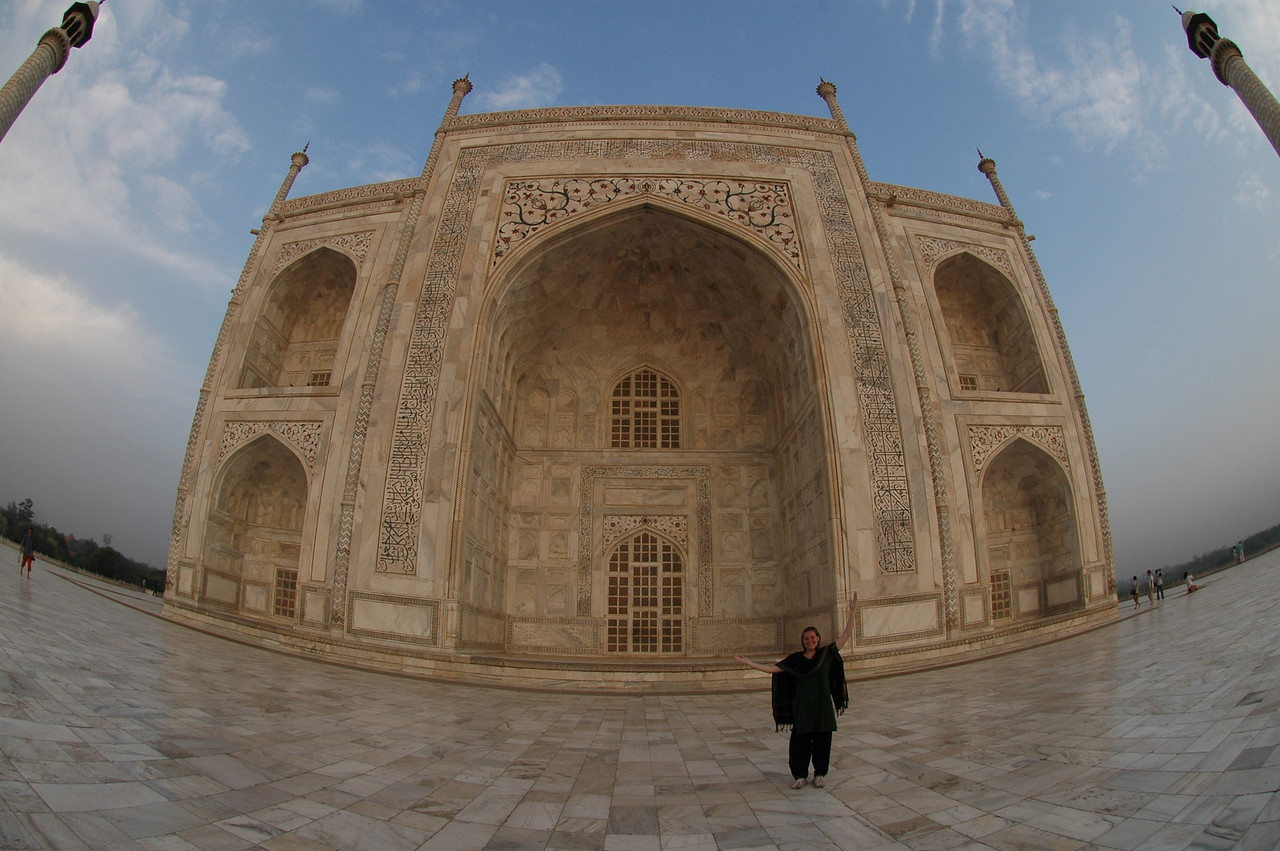 Agra: Cheryl Deutsch at the Taj Mahal.