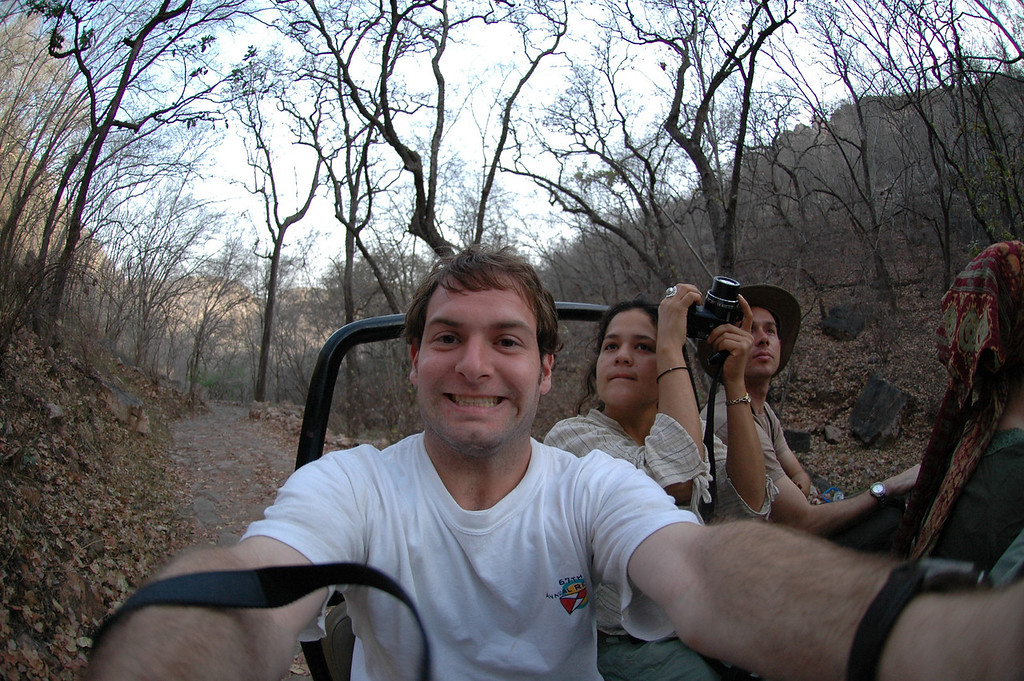 Ranthambore National Park: Jon Deutsch riding in a jeep on a safari.