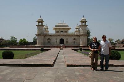 Agra: Cheryl Deutsch & Jon Deutsch at the Tomb of Itmad-ud-Daulah.