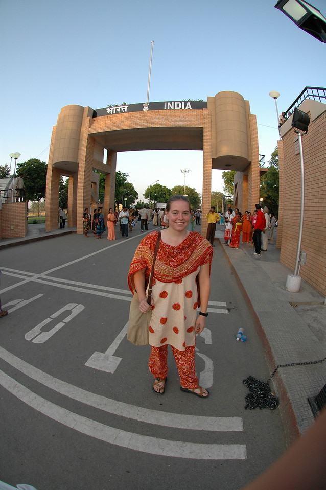 Waga: Cheryl at the India/Pakistan border.