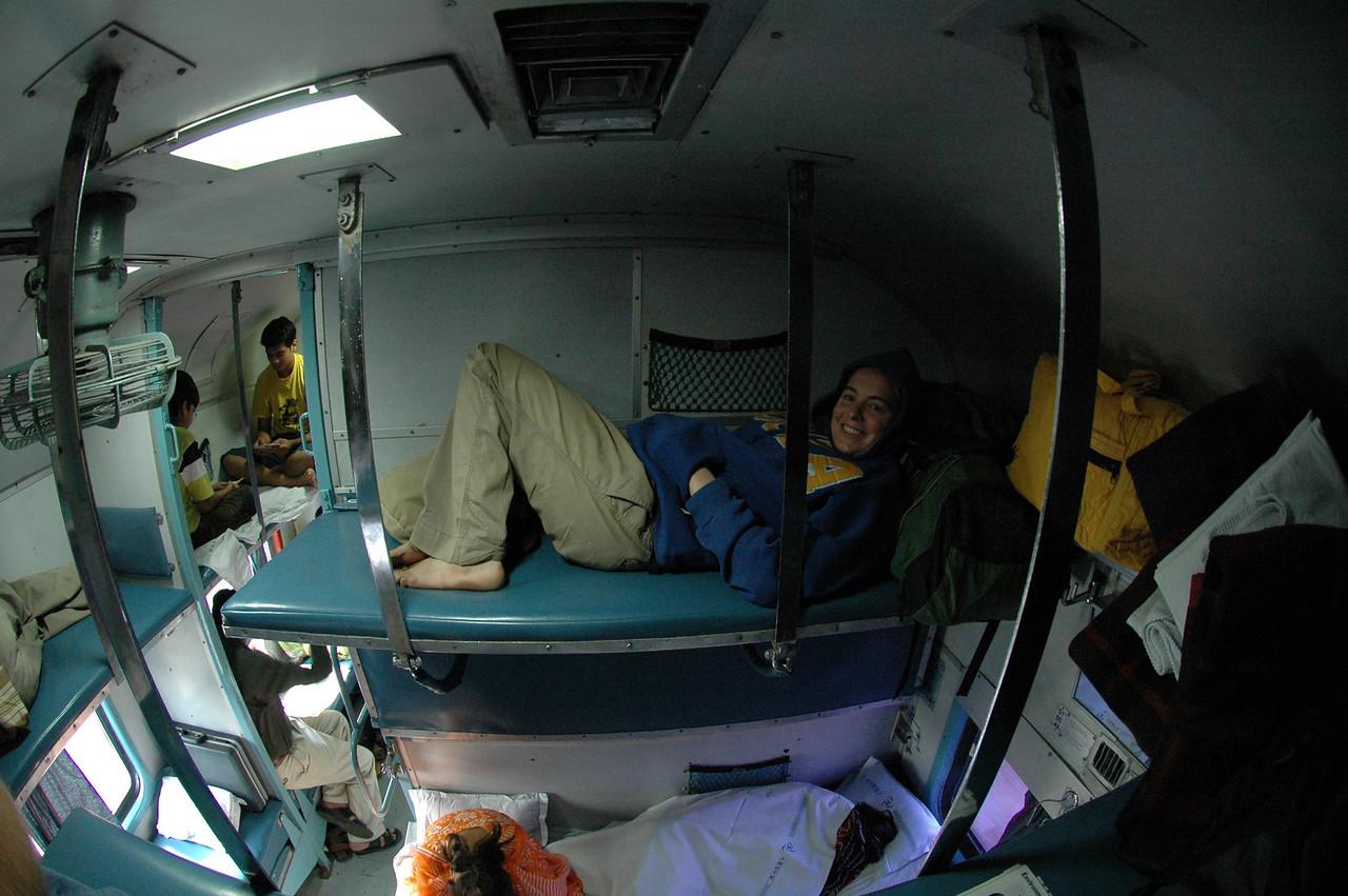 Cheryl Deutsch on a Train between Agra and Sawâi Mâdhopur.