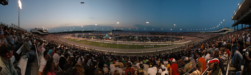 Panoramic photo taken from the Commonwealth section during the Lipton Tea 250 at Richmond International Raceway taken with a Nikon D70 and a 17-55mm f2.8 13 photos stitched together with Photoshop CS3.