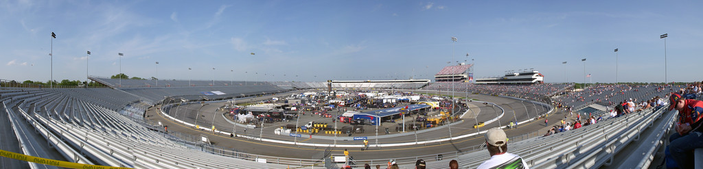 Turn 3 and 4 of Richmond International Raceway during qualifying for the Crown Royal Presents the Dan Lowry 400 NASCAR Sprint Cup Race. 11 photo panoramic taken with a Nikon S50c stitched together with Photoshop CS3.