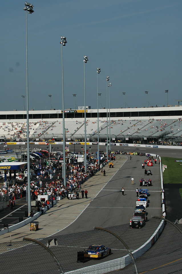 NASCAR Sprint Cup Cars lining up for qualifying on Friday afternoon.