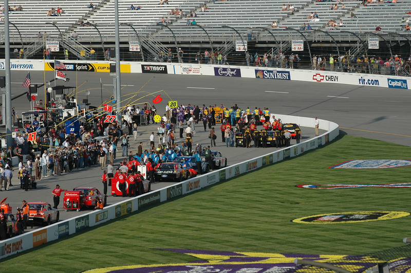 NASCAR Sprint Cup cars lining up to qualify on Friday afternoon.
