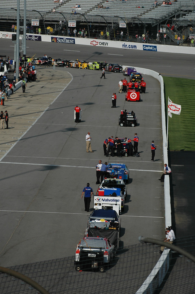NASCAR Sprint Cup Cars getting ready for qualifying.