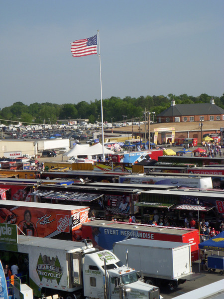 Trucks full of NASCAR gear for all of the drivers