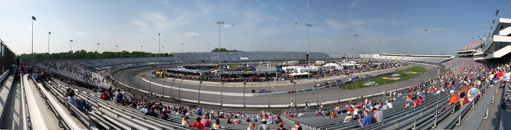 Richmond International Raceway from turn 4 during qualifying on Friday for the Crown Royal Presents the Dan Lowry 400 16 photo panoramic taken with a Nikon S50c stitched together in CS3.