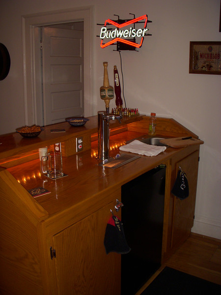 Bar all set up at the apartment on Boulevard.
