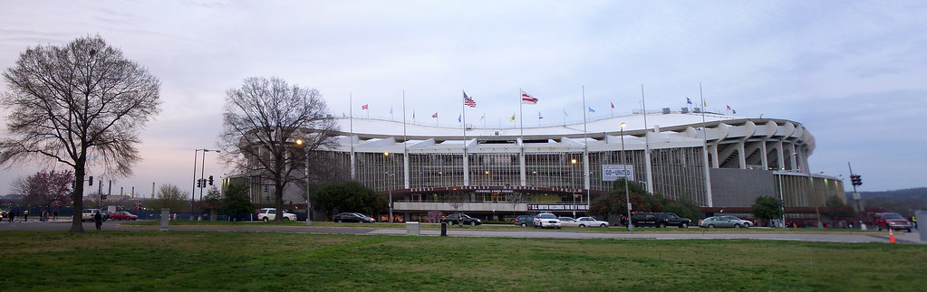Outside RFK Stadium - 6 photo panoramic taken with a Nikon S50c stitched in Photoshop CS3