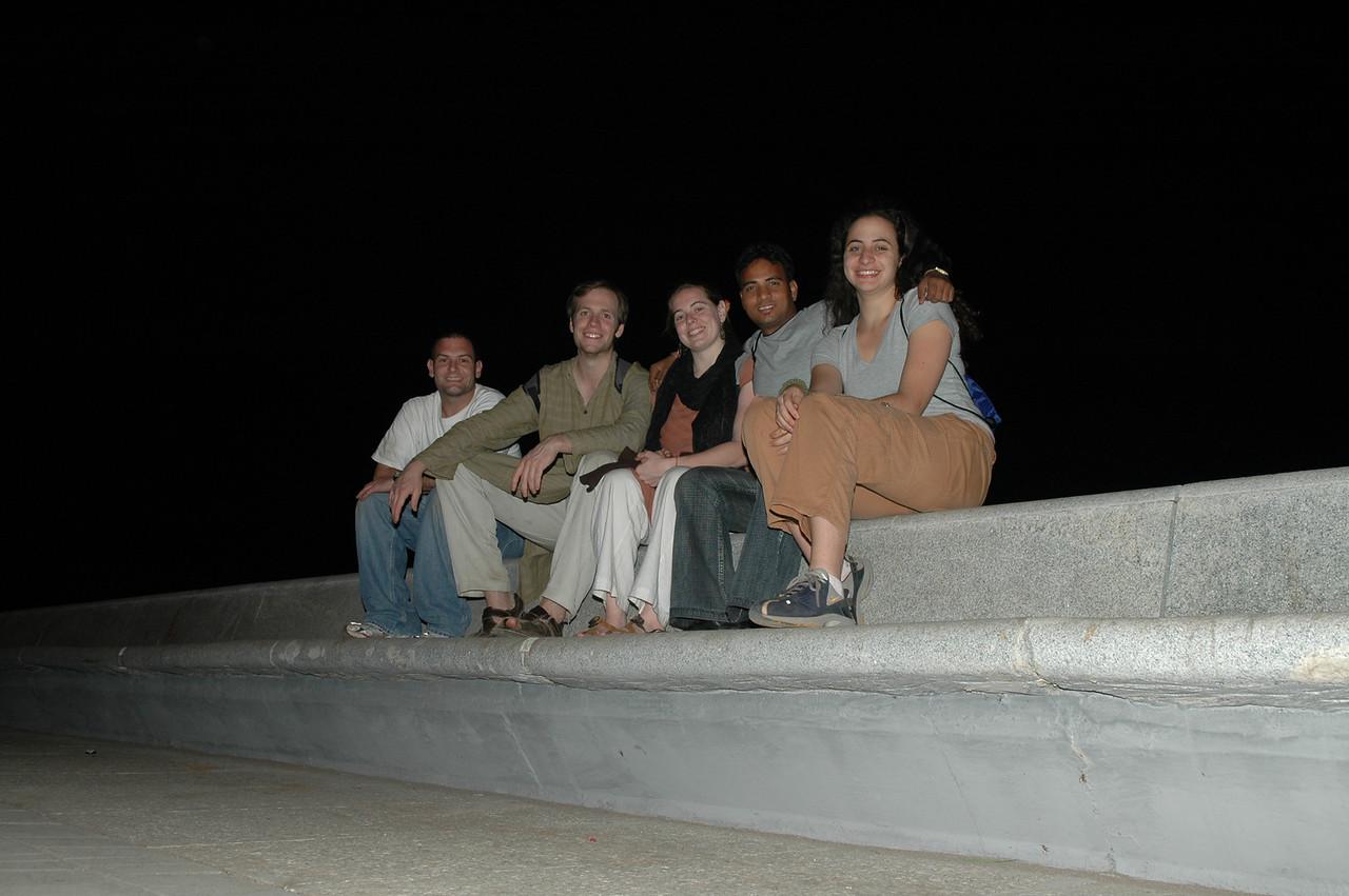 Jon, Brendan, Cheryl, Dilip and Renata sitting on Marine Drive