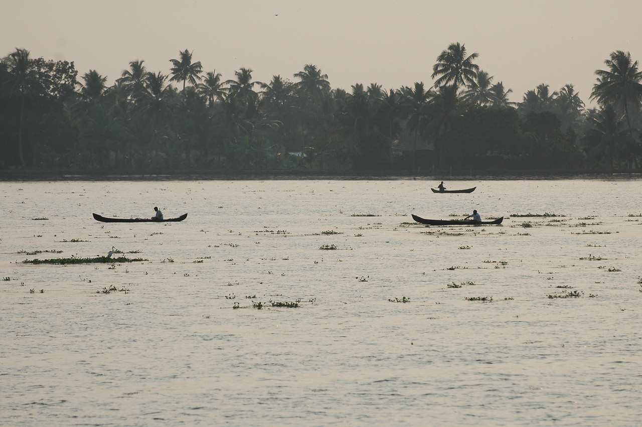 Small fishing boats on the waterways along the backwaters of Kerala