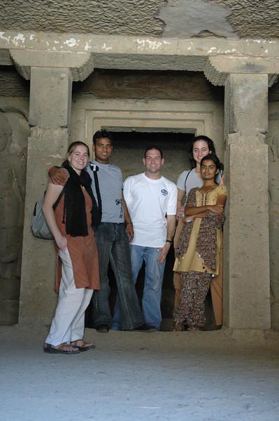 Cheryl, Dilip, Jon, Renata and Akshata inside a temple at the Kanheri Caves.