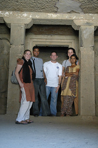 Cheryl, Dilip, Jon, Renata and Akshata inside a temple at the Kanheri Caves.