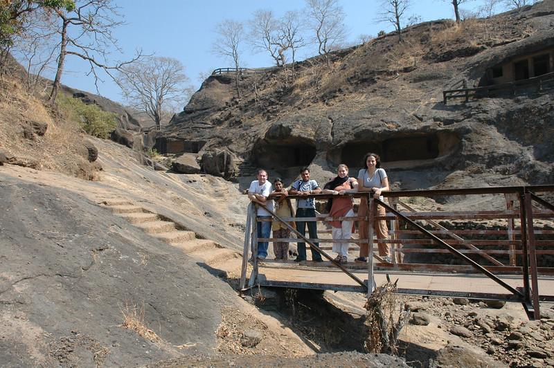 Jon, Akshata, Dilip, Cheryl and Renata at the Kanheri Caves