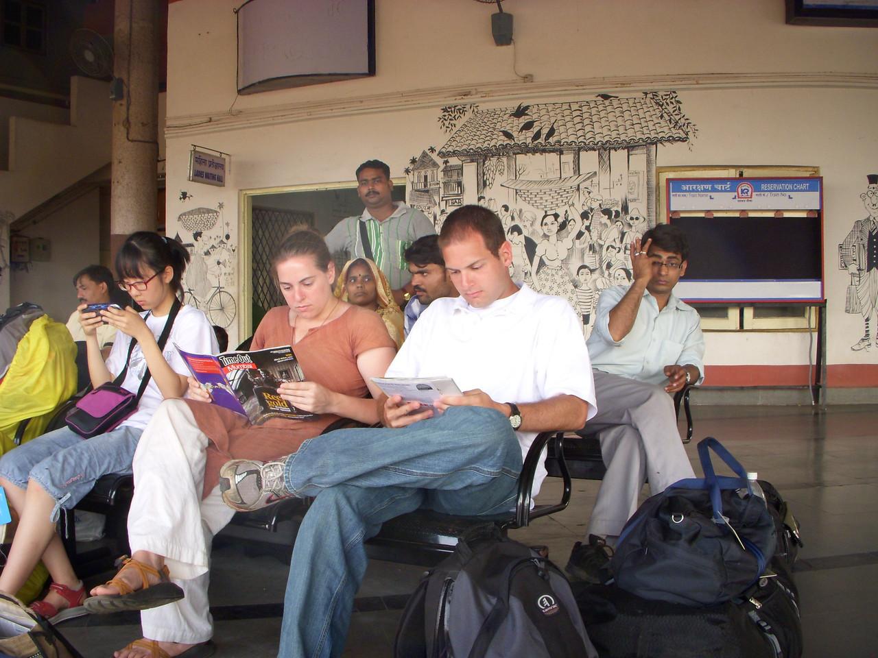Cheryl and Jon waiting for the train in Goa