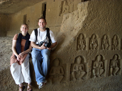 Cheryl and Jon inside a temple at the Kanheri Caves