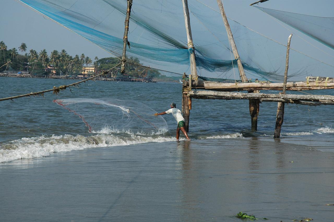 Net fishing by hand
